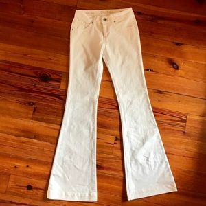 DL white high-rise denim flares